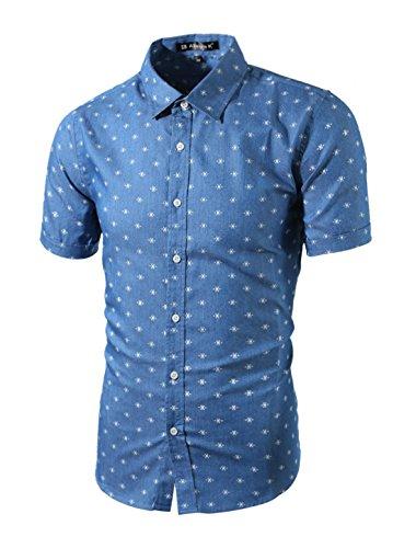 uxcell Herren Kurzarm Knopfleiste Fishbone Muster Shirt Hemd Blaugrün 46