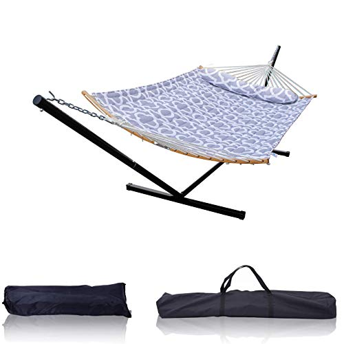 HENG FENG 2 Person Double Hammock with 12 Foot Portable Detachable Steel Stand and Curved Bamboo Spreader Bars, Detachable Pillow, Quilted Fabric Bed, Grey