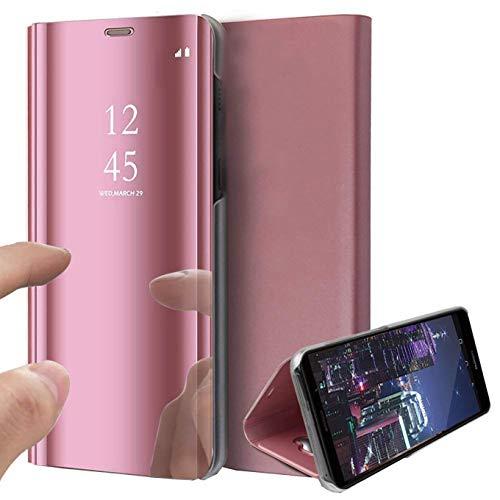 Funda para iPhone 12 Pro MAX, Funda con Vista Transparente Funda de Cuero con Espejo abatible para teléfono móvil con función de Soporte Funda de Cuero Funda Protectora con Soporte de 6,7 Pulgadas
