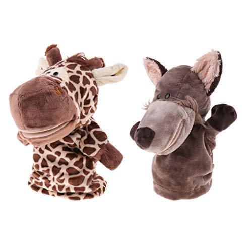 F Fityle 2stk. Niedliche Fingerpuppen Handpuppen Kasperletheater mit Plüsch Wolf und Giraffen Design, Geschenk für Kinder