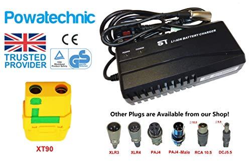 Powatechnic Cargador de batería de Litio Inteligente, 48V - 54.6V 2.5A, para Bicicletas eléctricas, Scooters, sillas de Ruedas y más! (XT90)