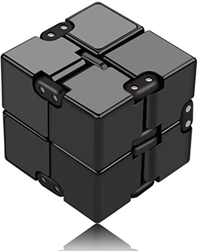 Rmeet Infinity Cube,Plastico Descompresión de Cubo Mini PVC Finger Toys Handy Infinito Rompecabezas para Niños Adultos Tiempo de Matar Agregar TDAH Trastorno de Ansiedad Negro