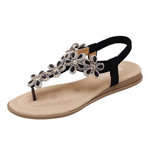 Sandales de Plates Femmes, Manadlian Chaussures de Ville Été à Talons Plats Tong Chic Chaussons Compensées Piscine et Plage Sandalettes