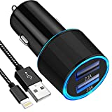 USB Car Charger, Aonear 3.1A Rapid Dual Port USB Car Charger with 6-feet Cable Compatible iPhone X/8/8 Plus/7/6/6S Plus 5S 5 5C SE,iPad and More(Black iPhone Car Charger)