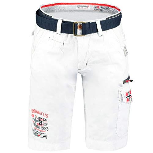 GEO NORWAY PARODIE Men - Bermuda di Cotone Casual Uomo - Pantaloncini Sportivi da Uomo - Pantaloncini Chino Traspiranti Casual - Pantaloncini Corto Pantaloncino - Running Fit TascheBianco - M