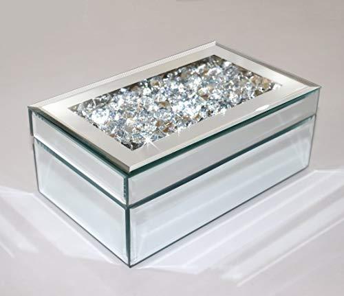 qmdecor - Joyero Organizador Plata con Diamantes de imitación de Cristal de Espejo, Caja de Almacenamiento para Mujeres