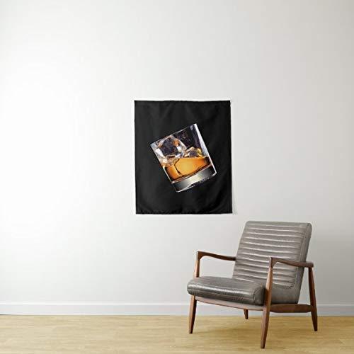 Tapiz de pared pequeño Whisky On The Rocks, para colgar en la pared, gran tapiz psicodélico, decoración de dormitorio, sala de estar, dormitorio de 149 x 200 cm