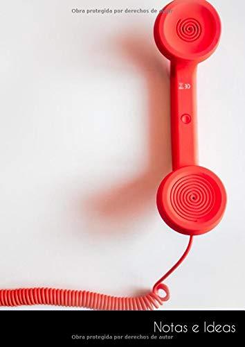 Notas e Ideas: Cuaderno / diario de bala grande teléfono rojo cable...