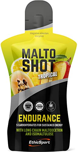 EthicSport - Maltoshot Endurance - Pack da 50 ml - Gusto: Tropical - Prodotto energetico specifico per attività di endurance con 5 diversi carboidrati sequenziali e senza caffeina.