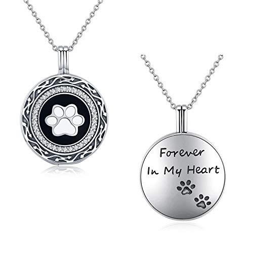 Silberne Halskette mit Pfotenabdruck zur Erinnerung an das tierische Familienmitglied