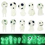 Miniatura Luminoso �rbol Elfos Fantasma,QSXX 10 Piezas Luminoso �rbol Elfos,Princesa Mononoke �rbol Luminoso Elfos Muñeca Mini �rbol Luminoso Elfos Adorno para Decoración de Jardínmononoke,Césped