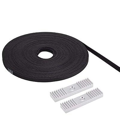 PChero 5 Meter 6mm Width GT2 Timing Belt + 2pcs 2GT Timing Belt Aluminum Gear Clamp Mount Block Pack