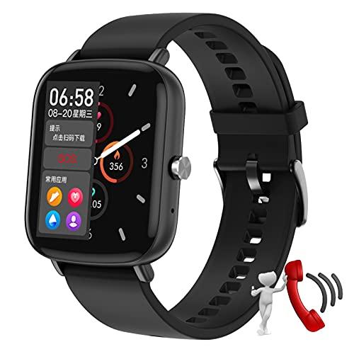 HQPCAHL Smartwatch Relojes Inteligentes Hombre Reloj Inteligente con Pulsómetro Cronómetros, Calorías, Monitor De Sueño, Impermeable IP68 Reloj Deportivo para Android iOS,Negro
