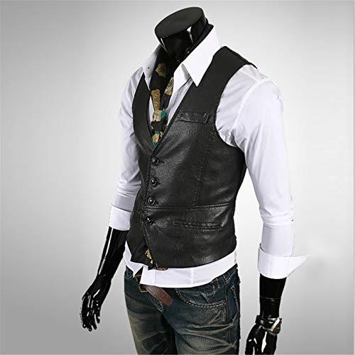 Herren Lederweste Casual Western Weste Jacke, Leichte V-Ausschnitt Anzug Weste Weste, Modisch Und Schlank,Schwarz,XL