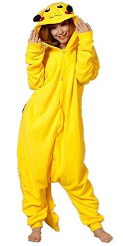 Outdoor top Winter Warm Flanell Unisex Einteiler/Pyjama für Erwachsene Pikachu Pyjama in gelb, Gr. M