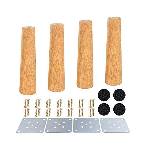 4 Stück Holz Sofafüße 8cm/20cm Möbelfüße, Holz Möbelfüße, Aus Eiche für Sofa, Schrank und Bett, mit Schrauben und Filzgleiter (Gerade Füße 20cm)