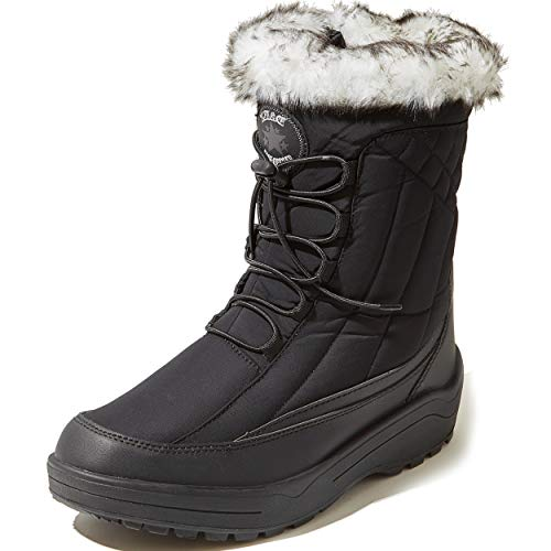 women's boot sale winter DailyShoes Ankle Snow Boots Winter Warm Short Lace Up Zip Outdoor Mid Calf Booties with Fur Trim daily shoes Black Nylon 9