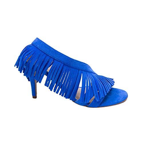 Vanessa Sandalias Eléctricas Azul Fringe Colección Zapatos y Zapatos de Tacón para...