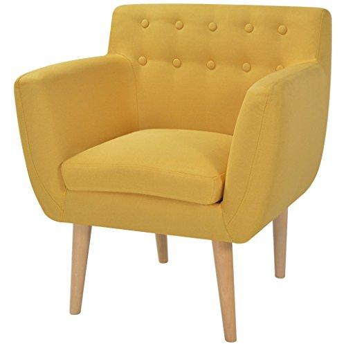 Festnight Armsessel Wohnzimmer Sessel Relaxsessel Polstersessel Holzrahmen Stoffpolsterung 67x59x77cm für Wohnzimmer Schlafzimmer - Gelb