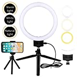 Flybiz LED Luz de Anillo con Trípode Palillo de Selfie, Mini luz de Anillo LED de Escritorio Regulable de 10W 2800K-5500K, Video de Youtube y Maquillaje Selfie, Kit de Luces de Anillo