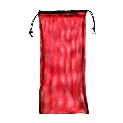 Inzopo - Bolsa de almacenamiento de malla duradera con cordón para buceo, buceo, aletas de equipo de buceo, máscara de aletas para natación, accesorios de natación, color rojo 50 x 23,5 cm