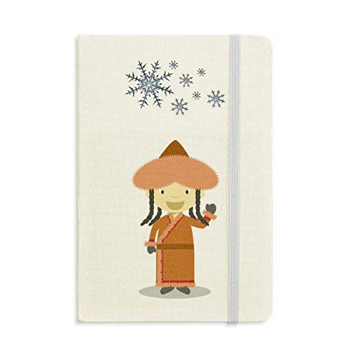 Sonrisa Abrigo Mongolia Cuaderno de dibujos animados grueso Diario copos de nieve...