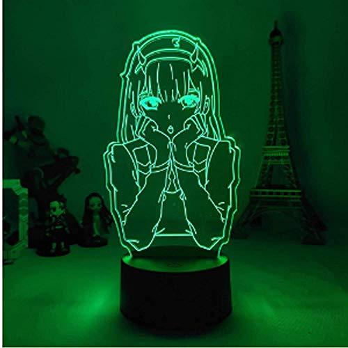 Baby Spielzeug 3D lámpara cero dos figuras luz de noche para niños niñas dormitorio decoración manga regalo noche luz lámpara Darling en el Franxx control remoto 16 colores-Typ3