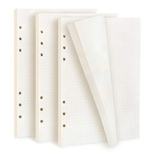 Diealles Shine 3 Packung Gepunktetes Papier A5 Nachfüllbar, 135 Blätter 6 Löcher Nachfüllpapier Dot Grid Paper A5 für Filofax, Notizbuch, Tagbuch, Skizze, Malerei