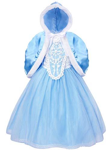 WonderBabe Vestido de princesa Rainha da neve Vestido de fantasia de desempenho saia Trajes de festa de aniversário para meninas 140