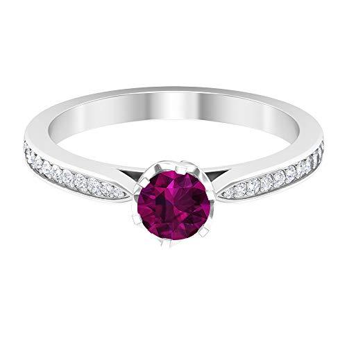 Anillo solitario de 5 mm de rodolita, anillo de compromiso de diamantes HI-SI, anillo solitario con piedras laterales (calidad AAA), 14K Oro blanco, Size:EU 64