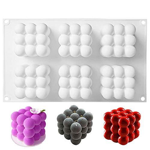 SILICANDO Molde de Silicona 3D, moldes de Silicona para Postres, 6-Cavidades Forma de Cubo de Rubik Moldes para Mousse, Chocolate, Brownie, Helado, Tartas, Fondant, Jabones