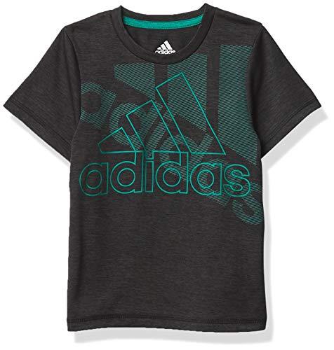 adidas Boys' Big Kids Stay Dry Moisture-Wicking AEROREADY Short Sleeve T-Shirt, Statement BOS Black/Green, S (8)