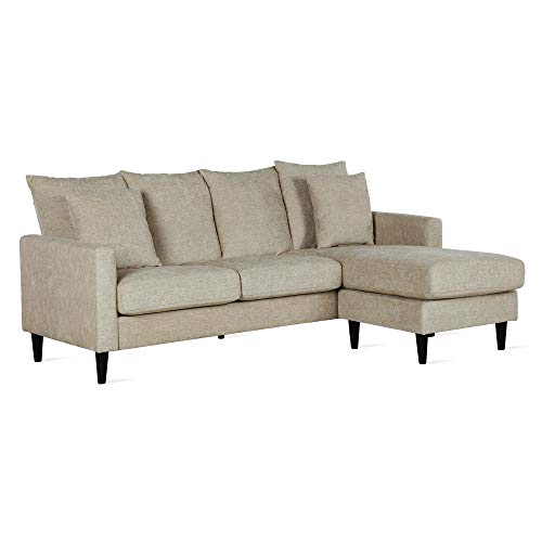 FlexLiving Reversible Sectional Sofa with Pillows, Beige