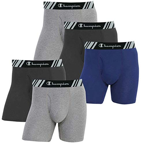 Champion Men's Boxer Briefs All Day Comfort No Ride Up Double Dry X-Temp 5 Pack (Black - Navy - Grey, Large)