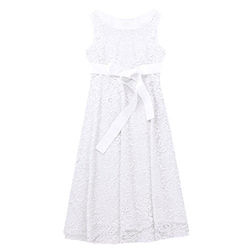 Tiaobug Damen Umstandskleid Spitzenkleid Frauen Schwangerschafts Kleid V-Ausschnitt Mutterschafts Kleid Fotografie Stillkleid mit Geknotetem Dekolleté Weiß Ärmellos - 4