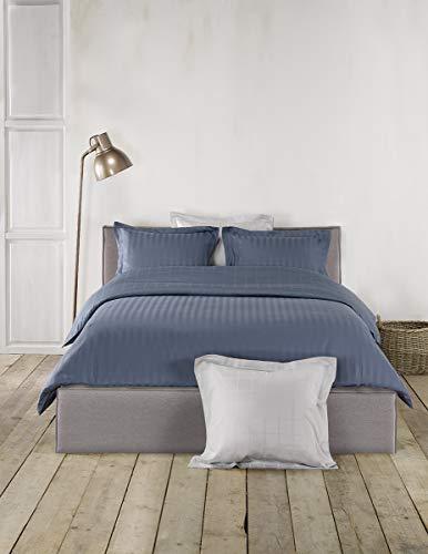 De Witte Lietaer Zygo Indigo-Parure Copripiumino Matrimoniale con 2 federe per cuscino, con Volant, in cotone pettinato, colore: blu, 240 x 220 cm