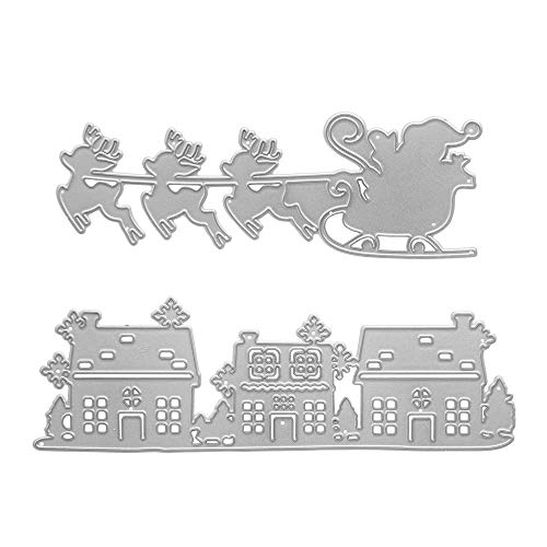 Metal Christmas Die Cuts Santa Claus and Reindeer-Drawn Sleigh, Cutting Dies Embossing Template for Card Making Scrapbooking Paper Craft Album Stamps DIY Décor