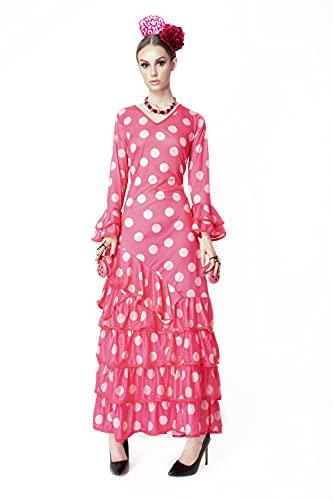 Disfraz de Bailaora de Flamenco, Vestido Largo con Mangas de Color Fucsia para Mujer (Fucsia, XL)