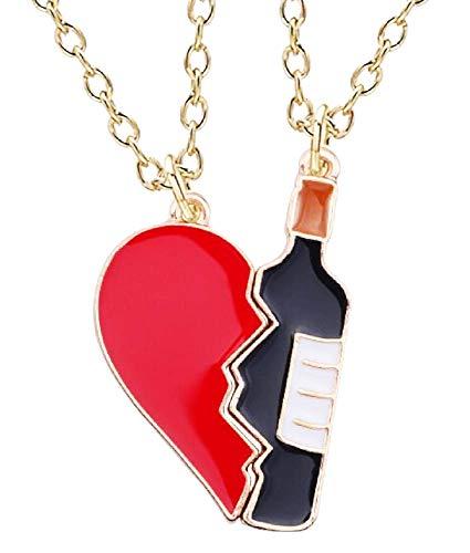 Twee half gebroken hartkettingen - grappig - half gebroken wijnfles - beste vrienden - kerstmis - origineel cadeau-idee - sieraden - verjaardag - goud