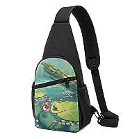 金魚 かえる ショルダーバッグ チェストバッグ 多機能 軽量 メッセンジャーバッグ防水旅行ウエストバッグ 携帯ポーチ カードが 小物入れ 収納 ユニセックス クロスボデ