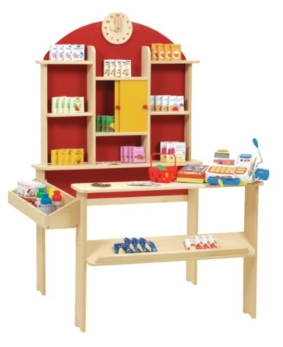 roba Kaufladen, Kinder Kaufmannsladen, inkl, Kaufladenzubehör, Holz natur, Verkaufsstand mit Theke, Uhr, roter Rückwand & gelben Schiebetüren