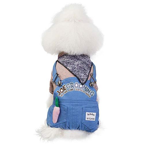 KSITH Huisdier Hond Kleding Warm Jas Siamese Kleding Denim Vierbenige Broek Herfst en Winter Radijs Bib Broek, S, Blauw