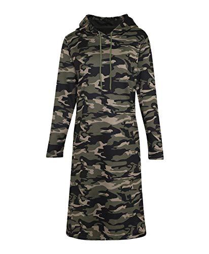 LOTMART dames capuchon-t-shirt met camouflage-patroon, stretch-bovendeel