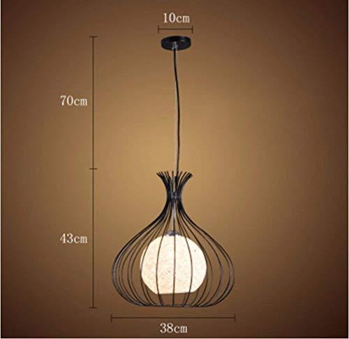 Nordic Bar Lounge Cafe eenvoudige rotan ijzer zwarte lampenkappen 38 * 43Cm