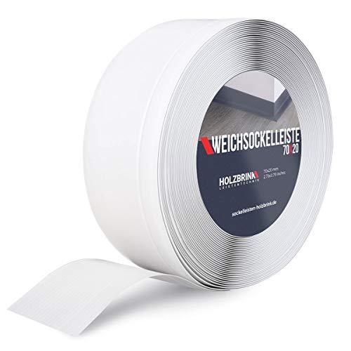 HOLZBRINK Weichsockelleiste Weiß Knickleiste ohne Klebestreifen, Material: PVC, 70x20mm, 5 Meter