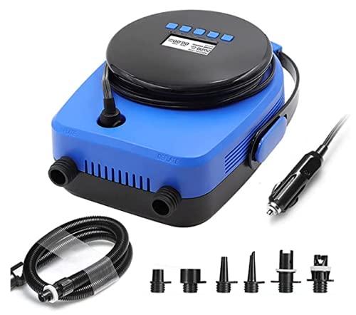 USMEI Bomba eléctrica para automóvil, Bomba eléctrica Inteligente LCD portátil de 7 boquillas, Adecuada para Tablas de Remo, Tablas de Surf, Soporte máximo 20PSI