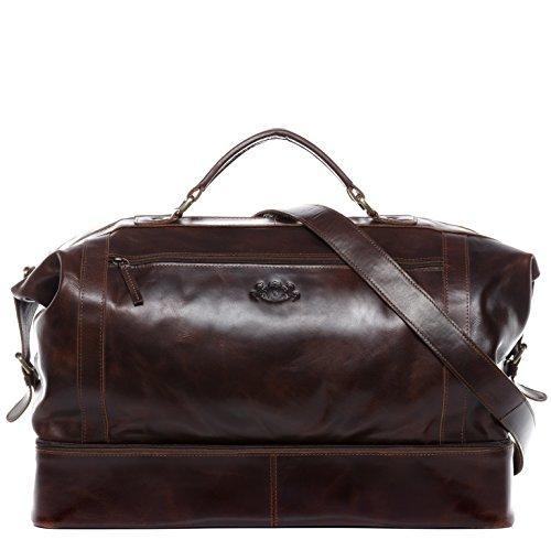 SID & VAIN borsa viaggio tracolla vera pelle KINGSTON grande XL borsone bagaglio a mano sportiva 33 l duffle bag weekend uomo cuoio marrone