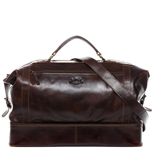 SID & VAIN Travel Bag Smart Compartment Kingston XL Weekender Real Leather 55 cm Overnight Duffle Bag Leather Bag Women and Men Brown