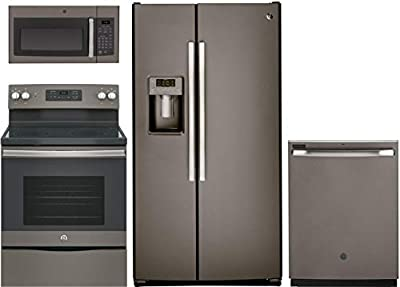 "GE 4-Piece Kitchen Package with GSS25GMHES 36"" Side by Side Fridge, JB645EKES 30"" Freestanding Electric Range, JVM3160EFES 30"" Over the Range Microwave and GDT605PMMES 24"" Built in Dishwasher in Slate"