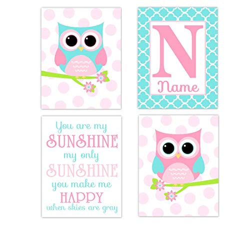 Owl Baby Girl Nursery Wall Art Pink Aqua You Are My Sunshine Girl Room Decor 4 UNFRAMED PRINTS